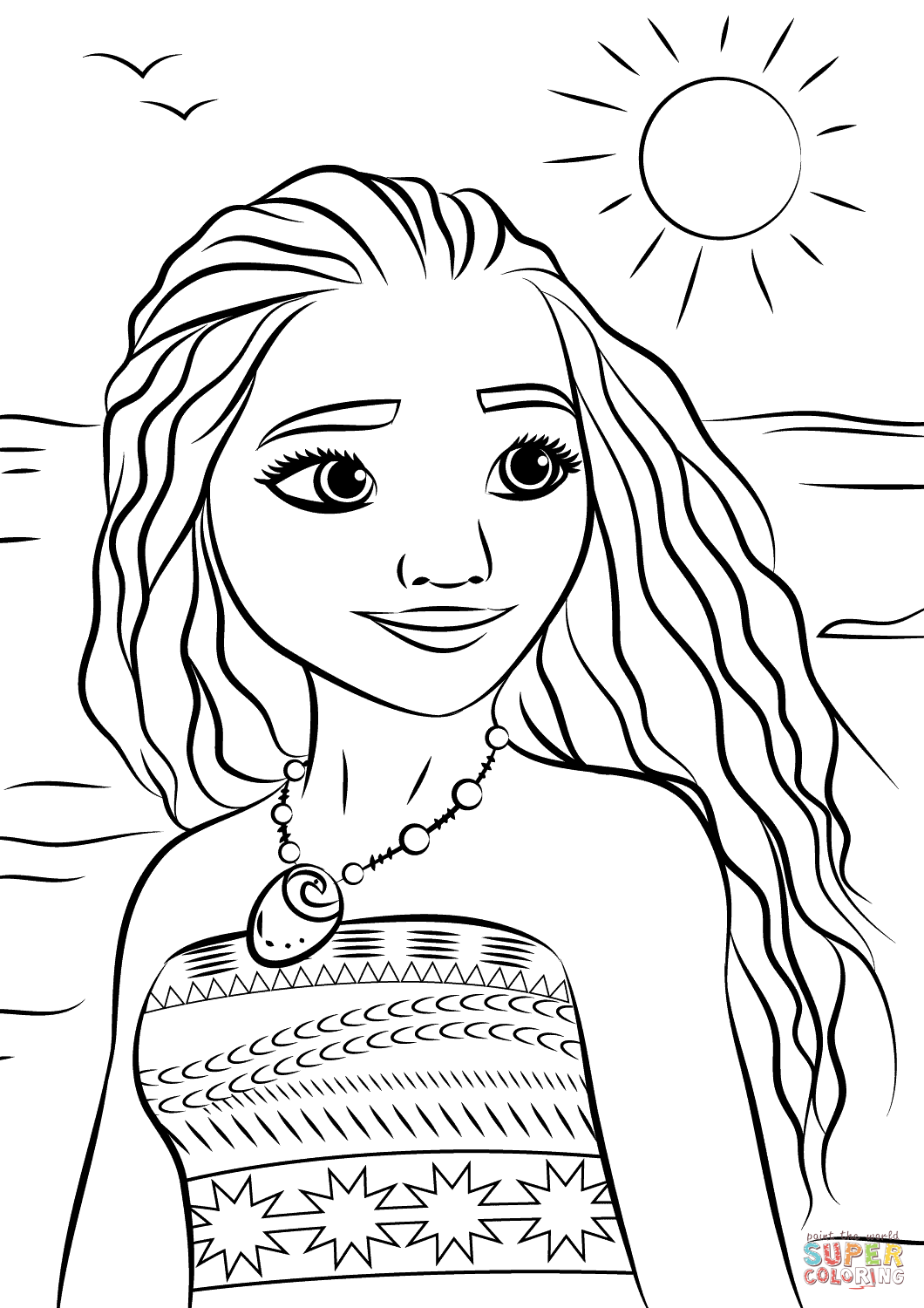 1060x1500 Princess Moana Portrait Coloring Page Free Printable Coloring