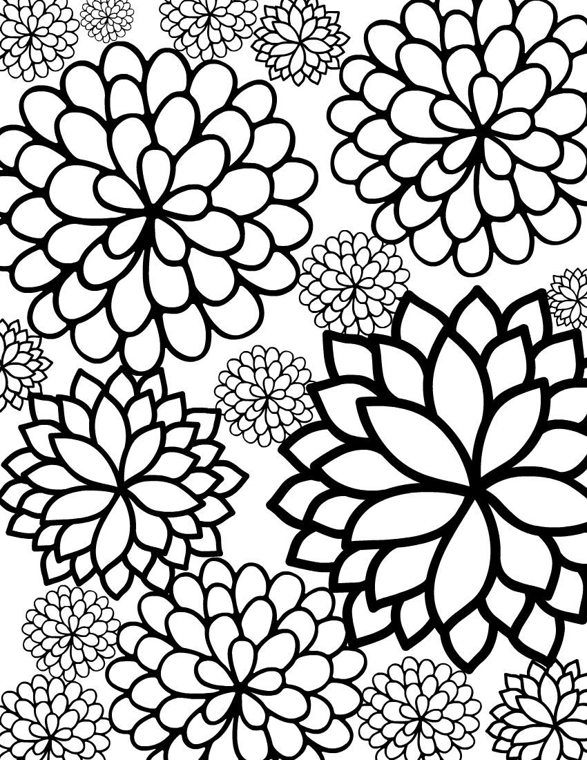 850x1100 Free Printable Bursting Blossoms Flower Coloring Page