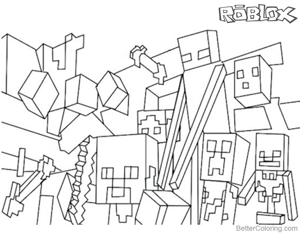 1000x780 Minecraft Of Roblox Coloring Pages Characters And Logo