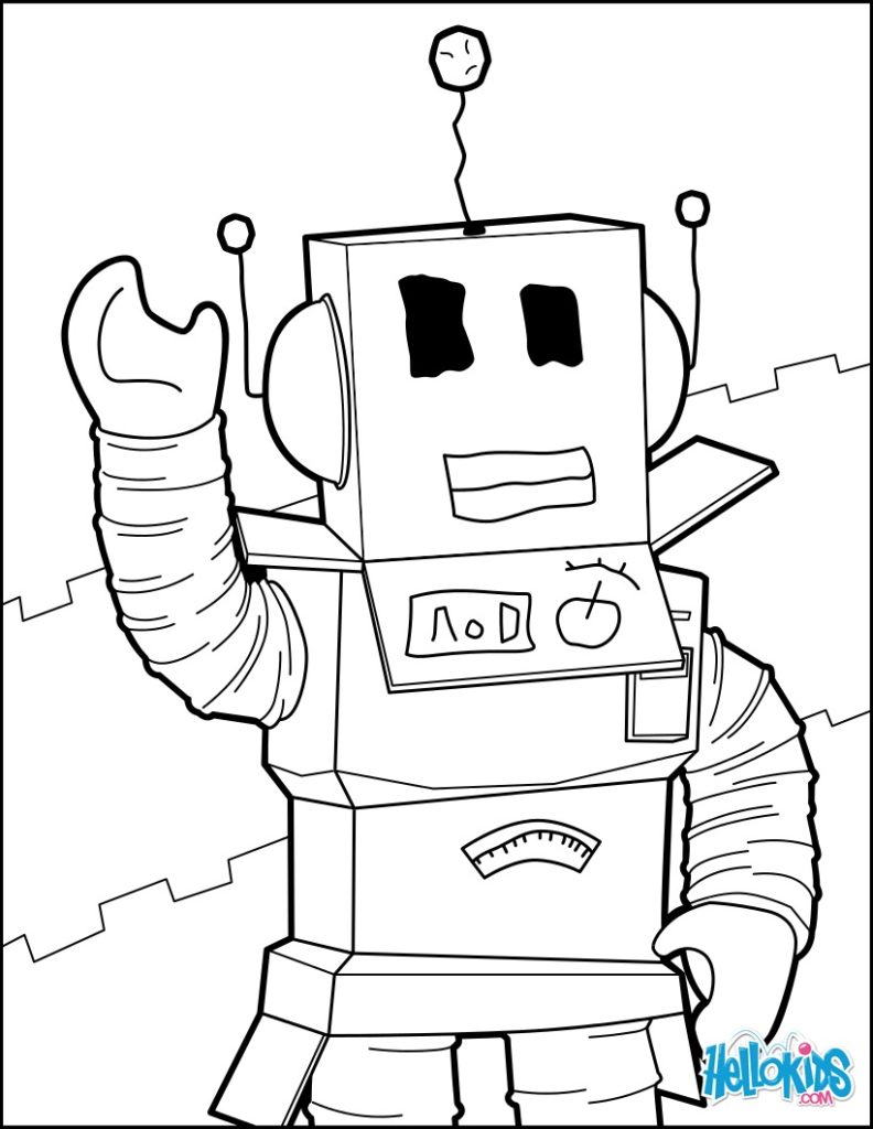 792x1024 A Robot Of Roblox Coloring Page Gjt