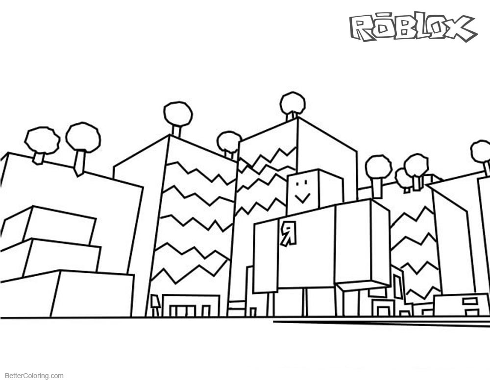 1000x780 Roblox Coloring Pages Buildings Line Drawing