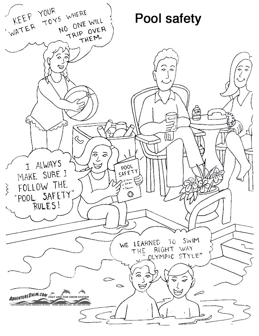 850x1100 Swimming Safety Coloring Pages Download And Print For Free