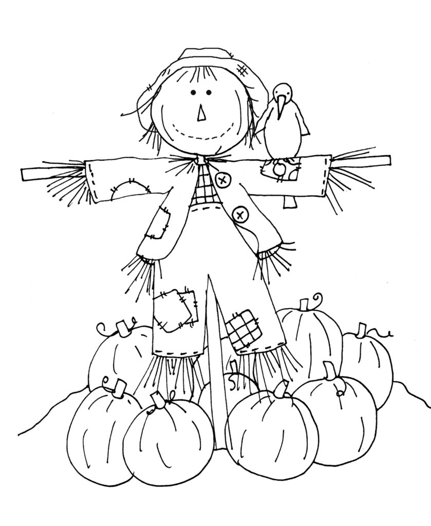 839x1024 Fall Scarecrow Coloring Page Wecoloringpage