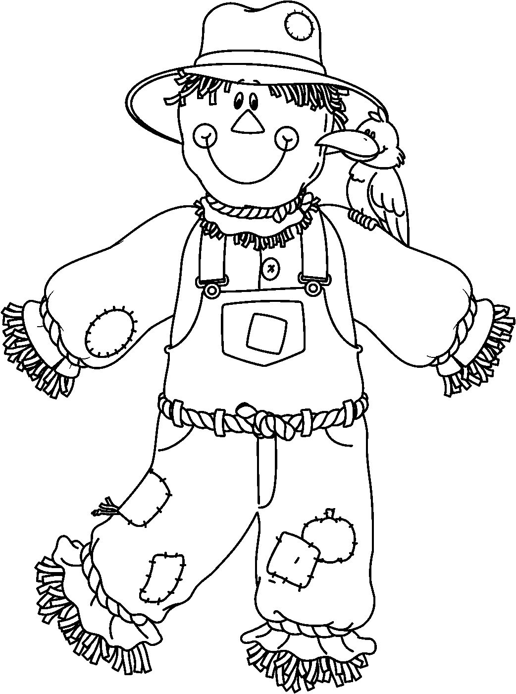 1042x1400 Scarecrow Coloring Page Perfect Halloween Pages Following Rustic