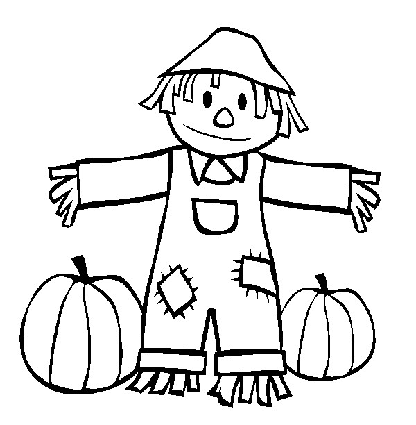 600x612 Coloring Pages Scarecrow Scarecrow Coloring Pages Colouring