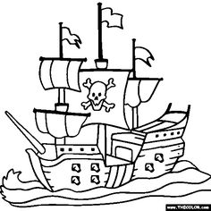 236x236 Free Printable Pirate Ship Coloring Pages Preschool For Sweet Page