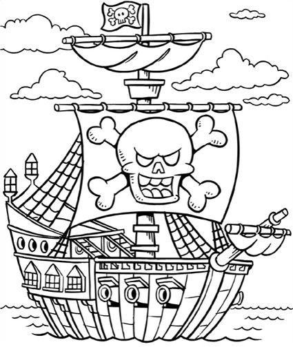 425x510 Santa Hat Coloring Pages Free Printable Pirate Ship Coloring Pages