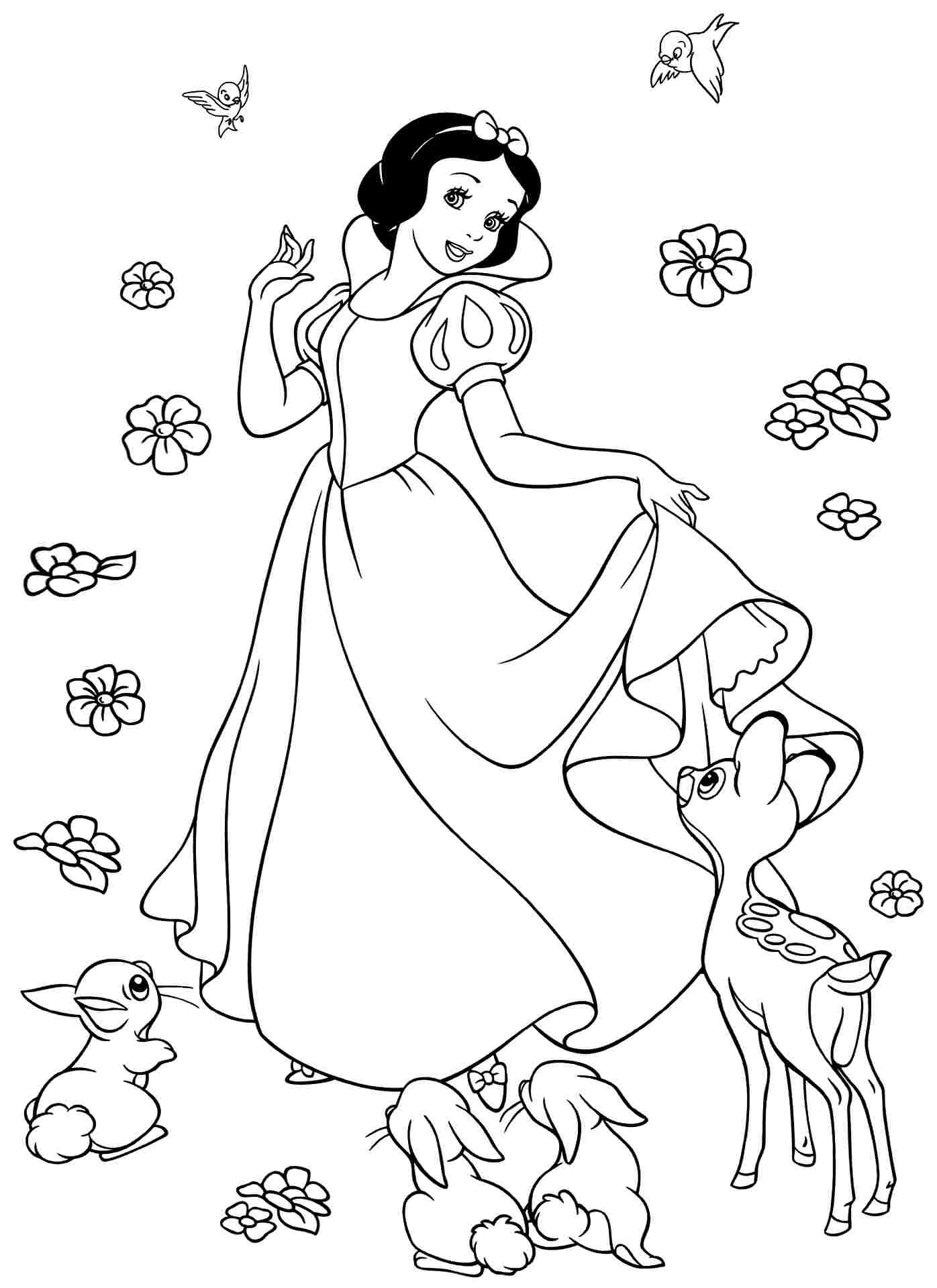 1396x1920 Snow White Coloring Pages