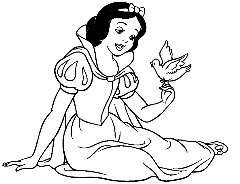 836x641 Snow White Coloring Pages Free To Print Top Free Printable Snow