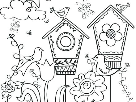 440x330 Spring Coloring Pages Happy Spring Coloring Page Spring Flowers