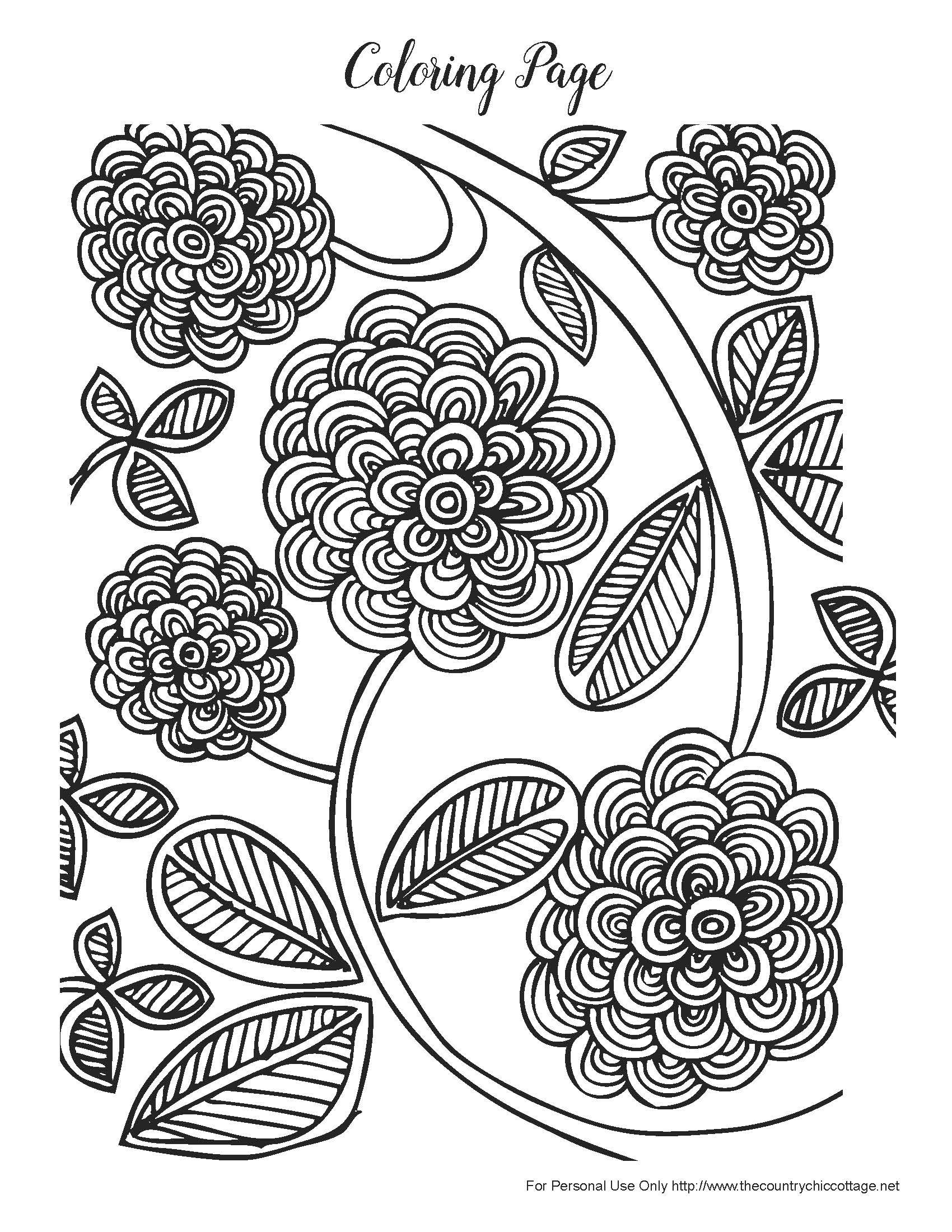 1700x2200 Free Spring Coloring Pages For Adults Pretty Flowers And Adult