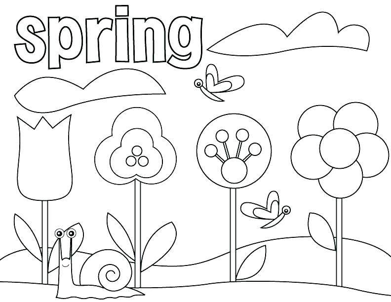 792x612 Spring Coloring Pages Free
