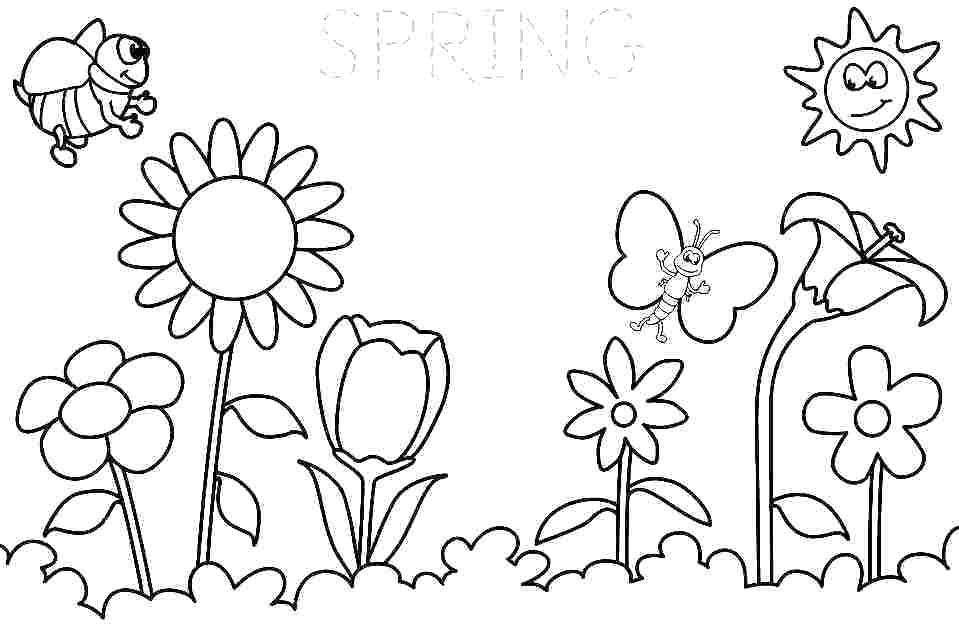 959x626 Spring Coloring Pages For Kids Printable Spring Coloring Page