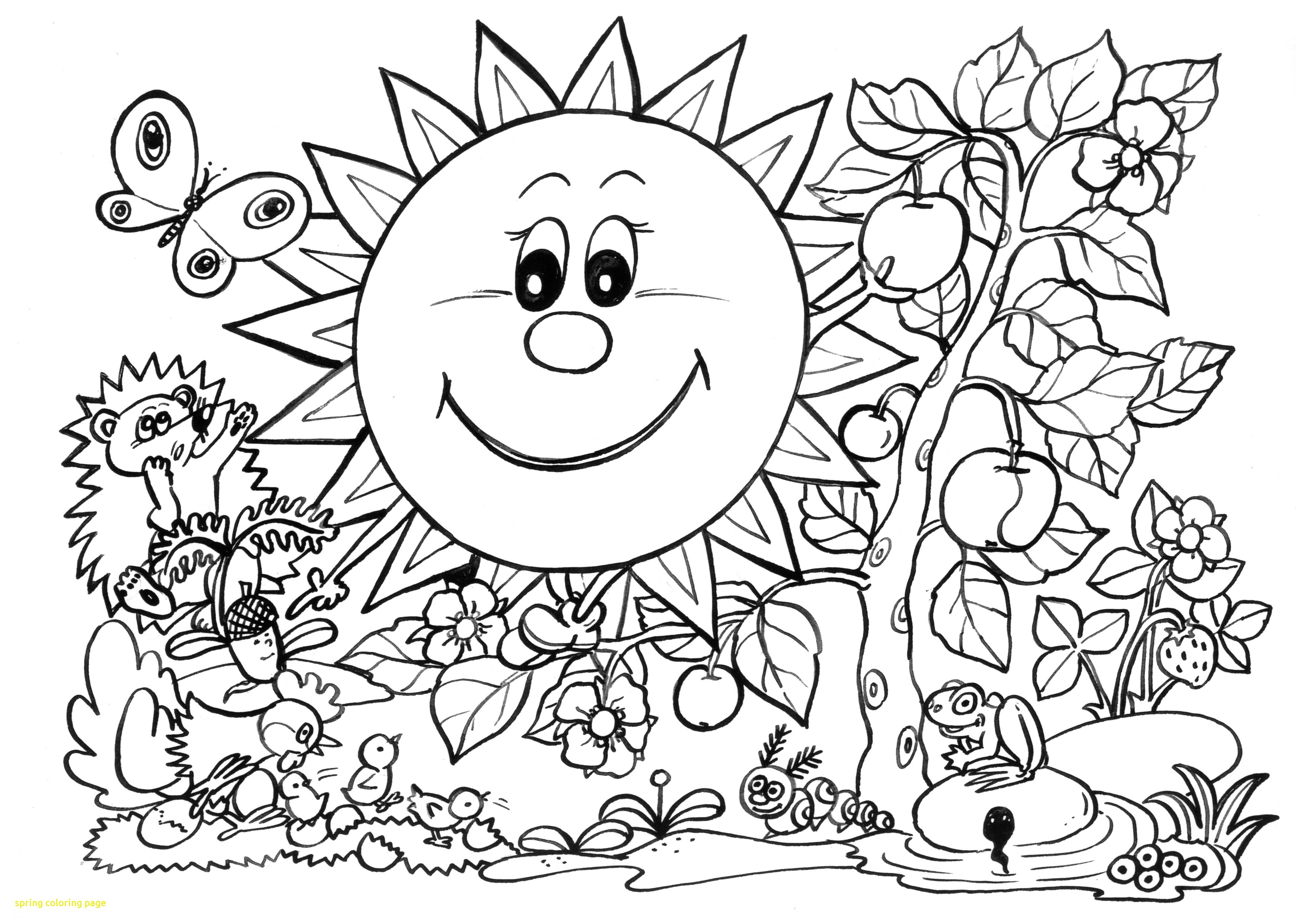3508x2484 Free Spring Coloring Pages Page With Sunny Garden