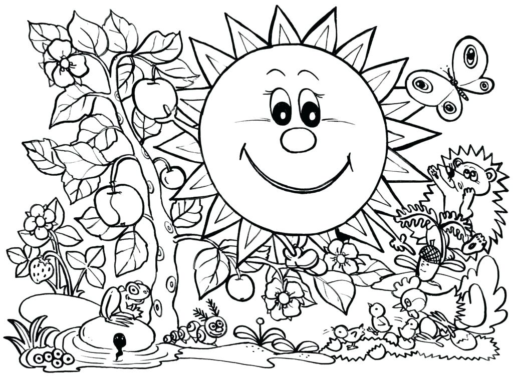 1024x753 Valuable Spring Coloring Pages For Kids Printable Top Free
