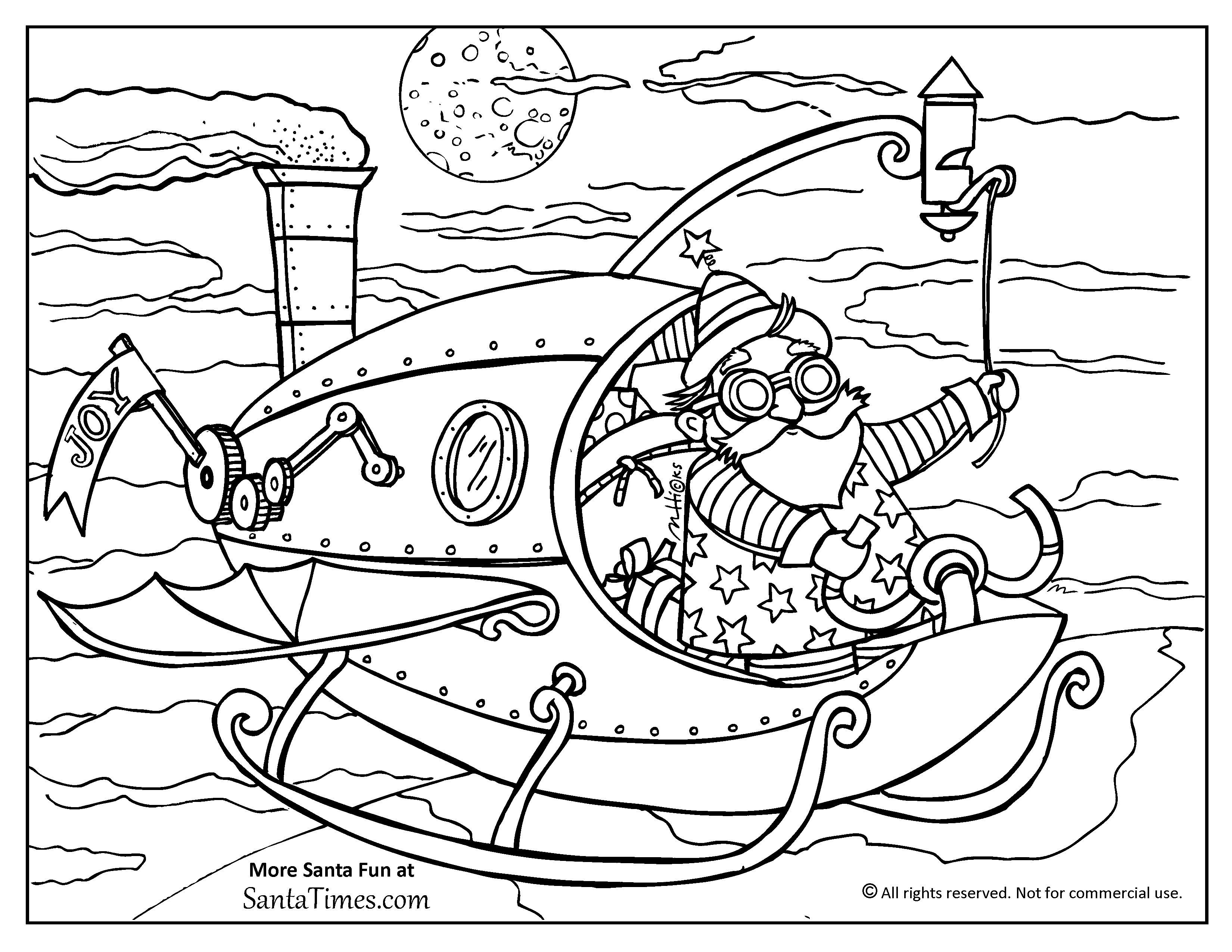 3300x2550 Steampunk Santa Coloring Page