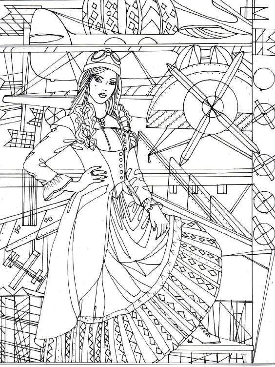 564x752 Adult Coloring Pages Steampunk Gothic Rockabilly Fantasy Printable