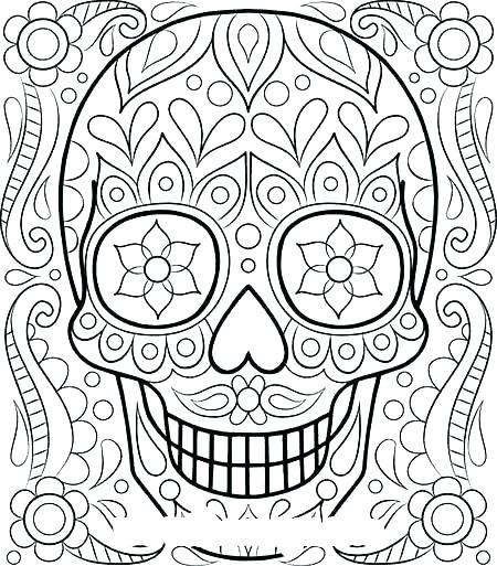 450x513 Sugar Skull Coloring Pages Printable Sugar Skull Coloring Sugar