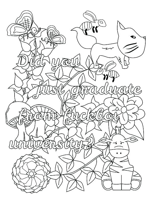 600x780 Swear Word Coloring Pages Free Download Screw You Asshole Adult
