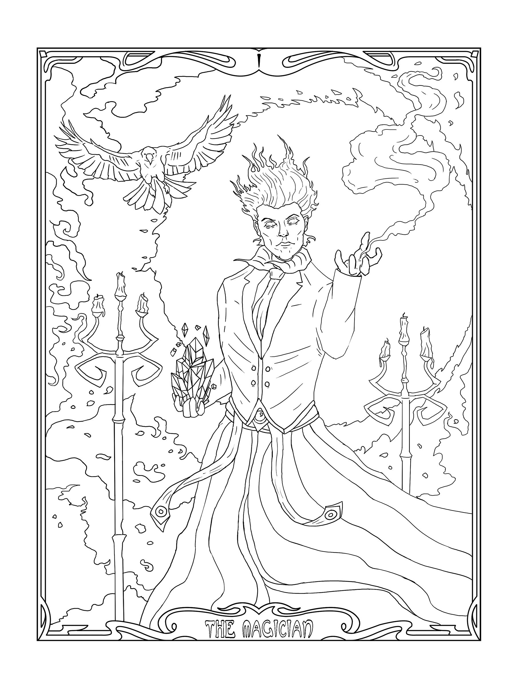 1800x2400 Magician, Mage, Printable Coloring Pages, Adult Coloring Page