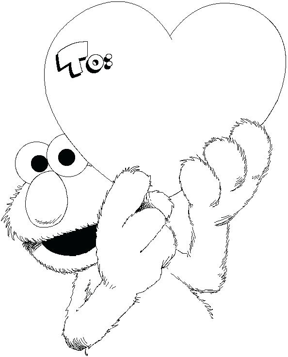 594x736 Card Coloring Pages Free Sesame Street Valentines Day Coloring