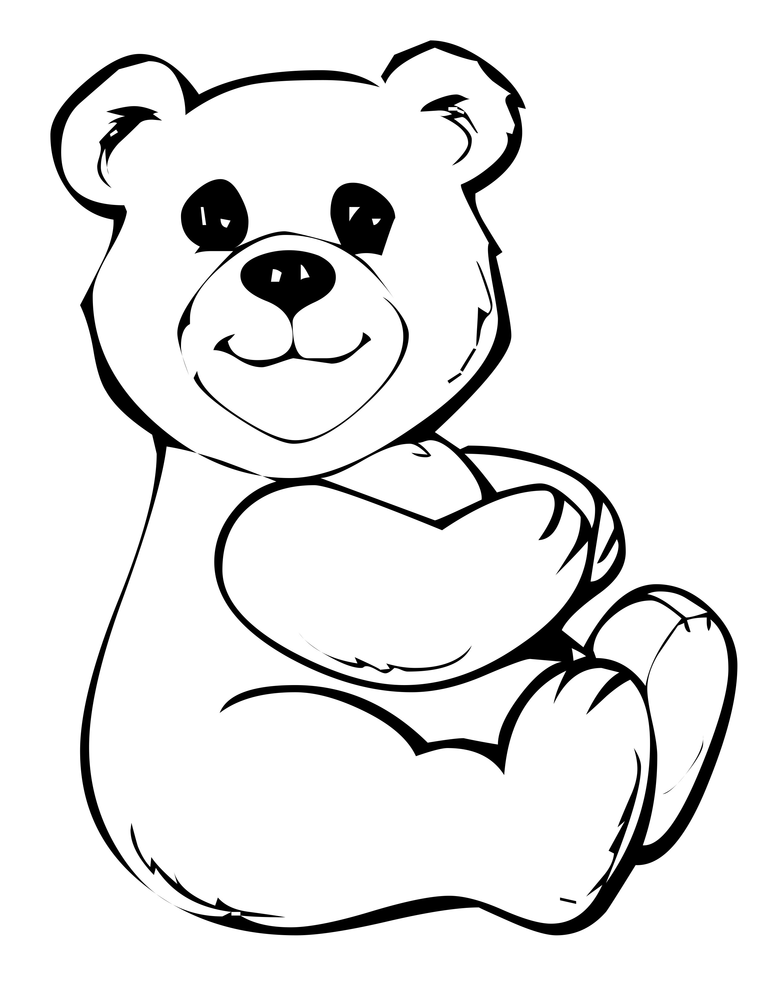 2550x3300 Professional Teddy Bear Coloring Page Free Pri