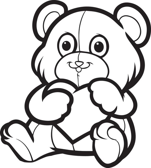 629x700 Valentine S Day A Cute Love Bear Coloring Page