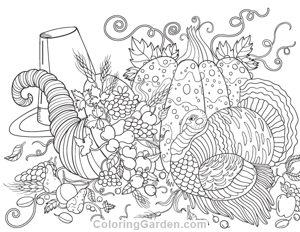 600x464 Free Printable Thanksgiving Adult Coloring Page Download It