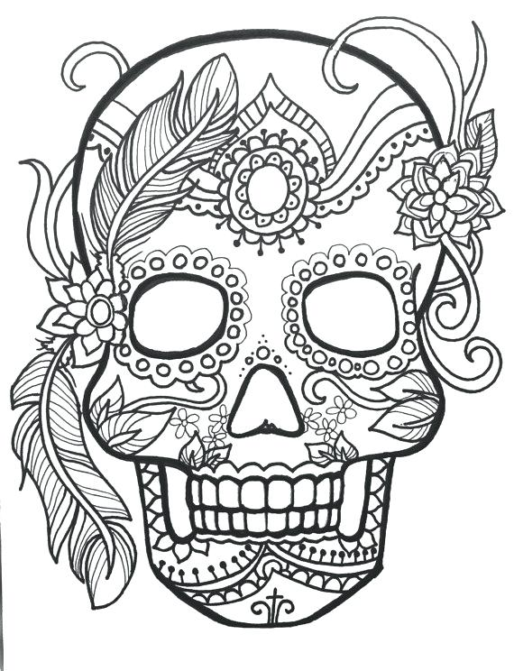 570x744 Candy Skull Coloring Pages Also Sugar Skull Day Of The Dead