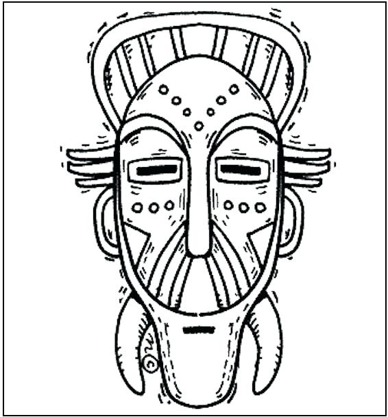 566x609 Mask Coloring Pages Mask Templates Tribal Mask Free Coloring