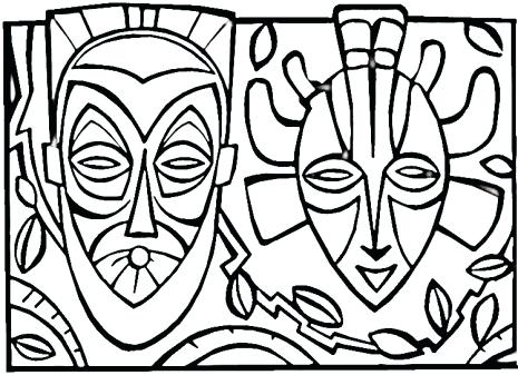 465x337 African Coloring Pages Surfboard Coloring Tribal Mask Coloring