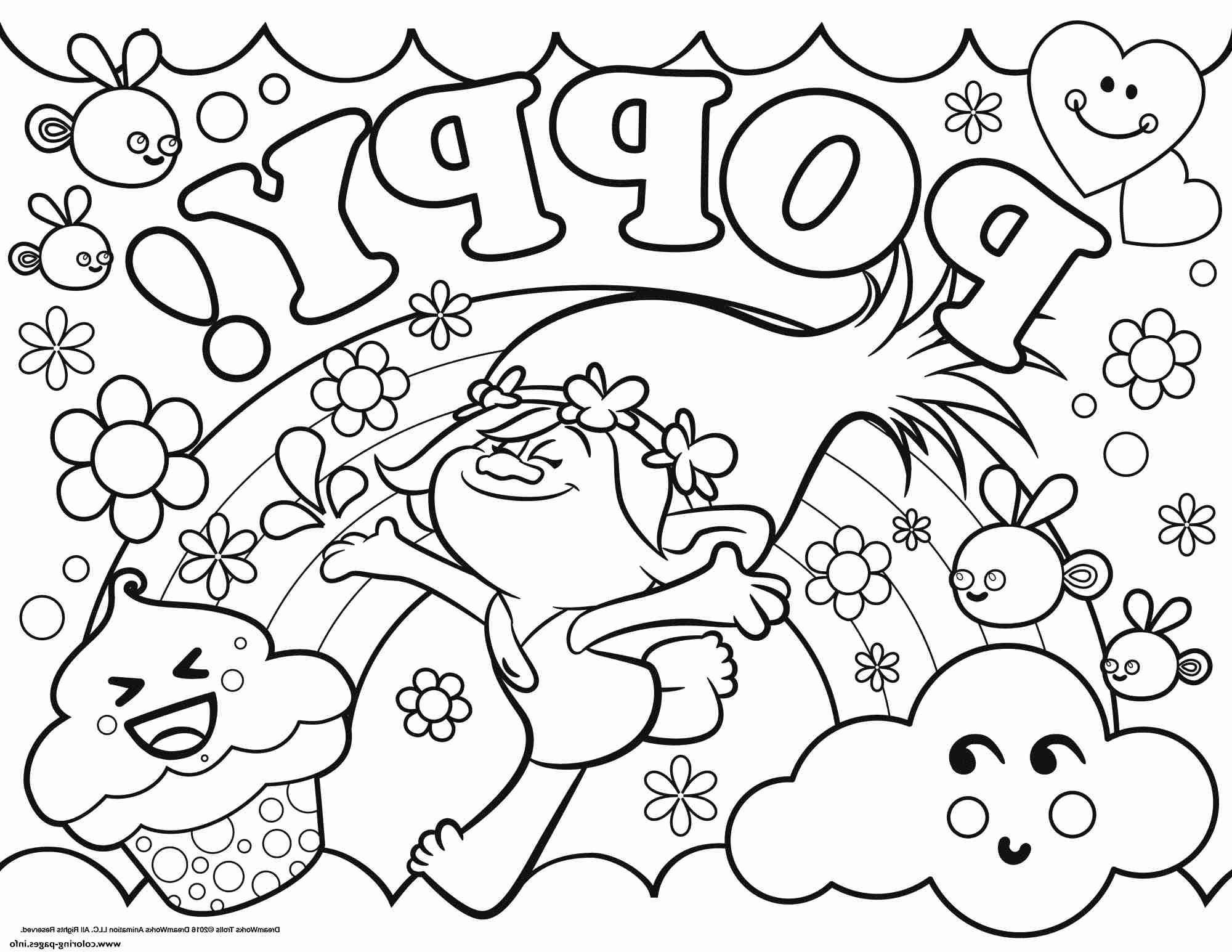 2000x1545 Trolls Coloring Pages Poppy Free Printable From Page
