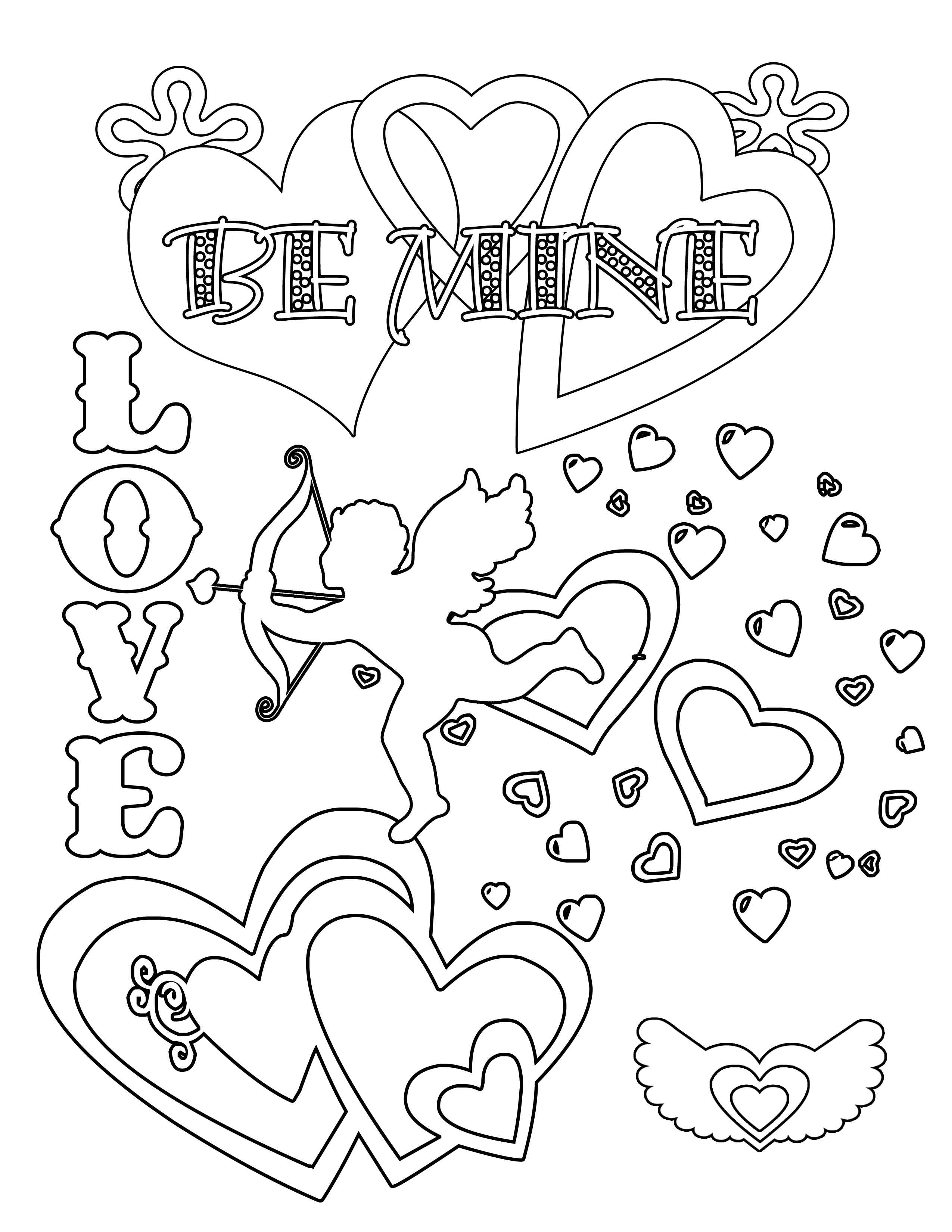 2550x3300 Download Super Printable Valentines Day Coloring Pages