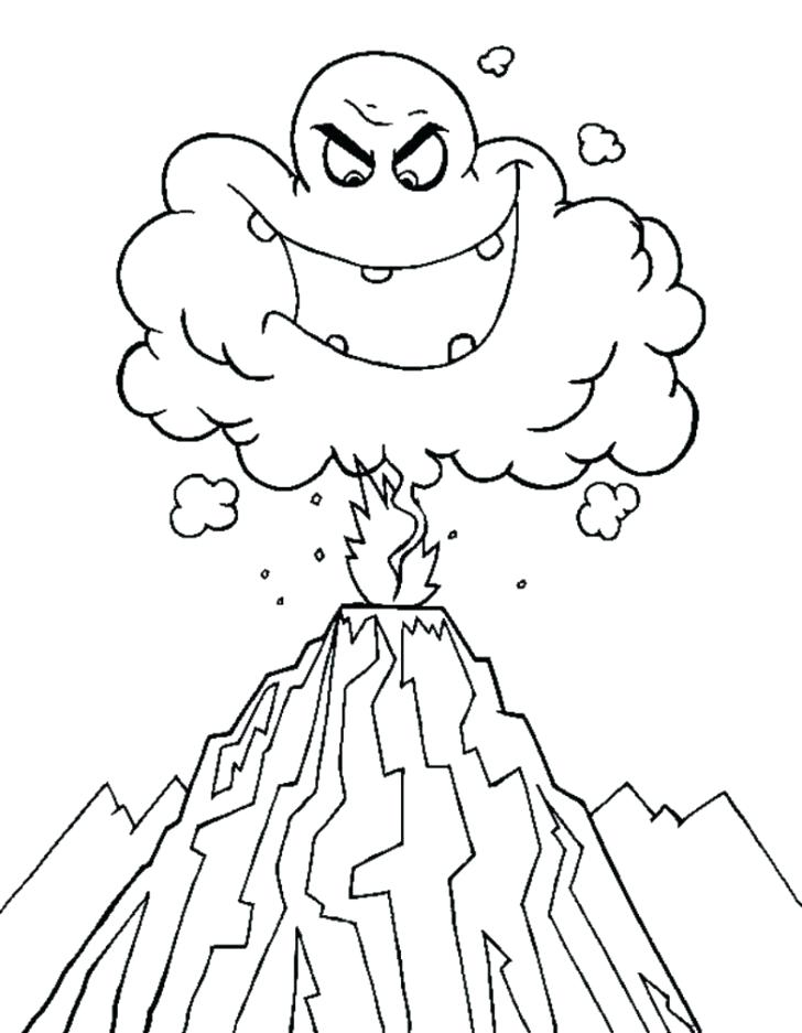 728x937 Volcano Coloring Page Volcano Coloring Pages Volcano Coloring