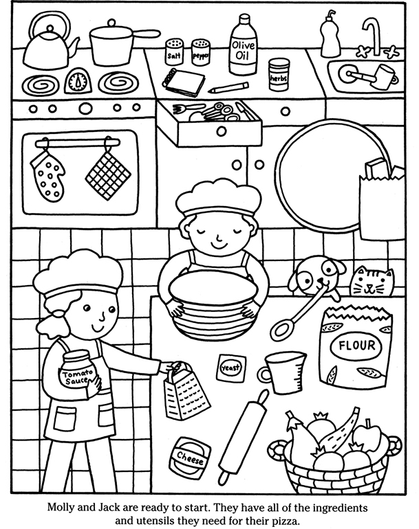 609x770 Color Cook Pizza Dover Publications Coloring Pages Edition