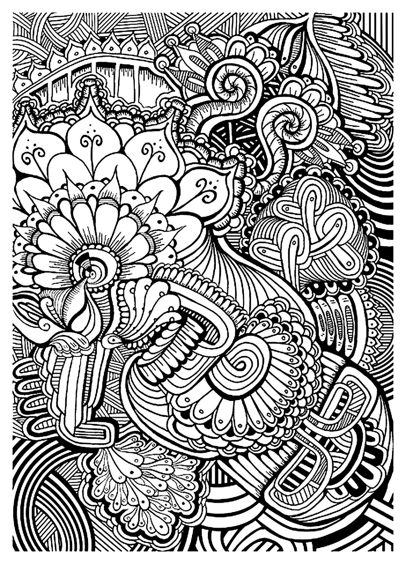 1300x1805 Coloring Vegetation Pages Zen Zendoodle Colouring Zentangle Easy