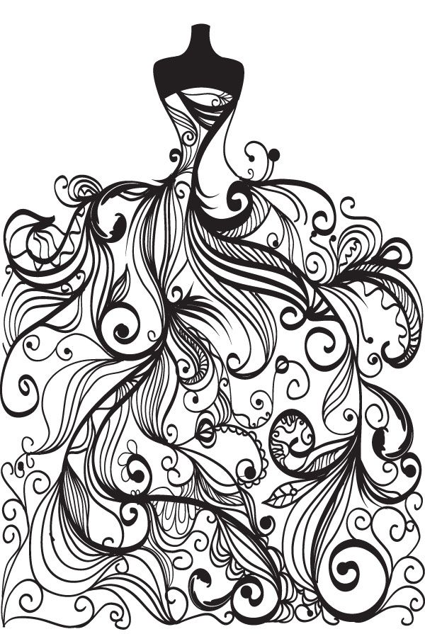 600x895 Free Vector Wedding Clip Art Coloring Page For Grown Ups