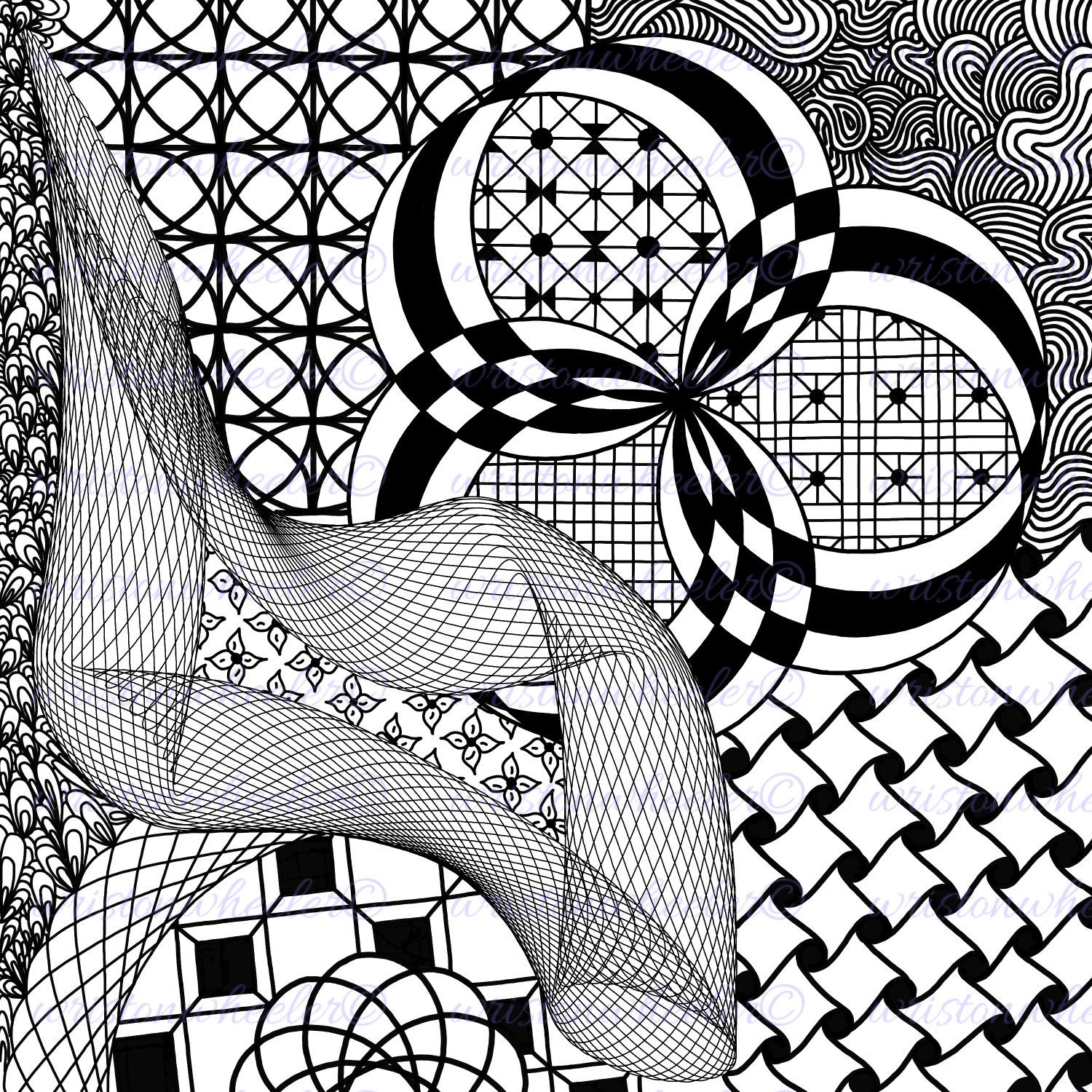 1500x1500 Abstract Zendoodle Coloring Page Instant
