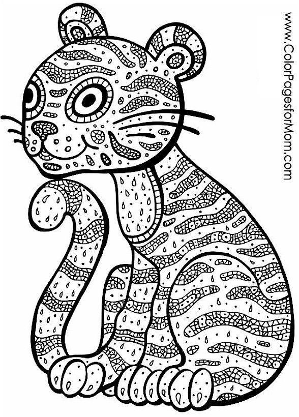 588x820 Cat Zendoodle Coloring Page Colouring Cats Dogs
