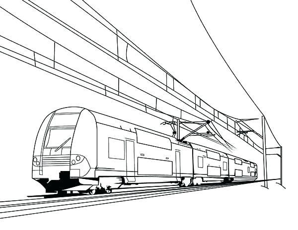 600x464 High Speed Train Coloring Pages