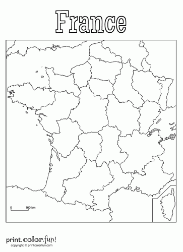 363x500 Blank Map Of France Coloring Page