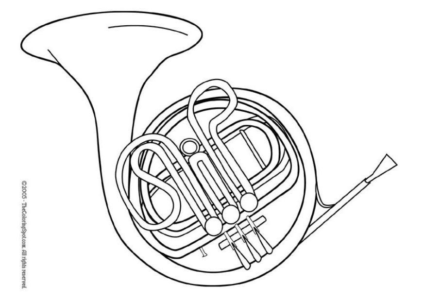 875x620 Coloring Page French Horn