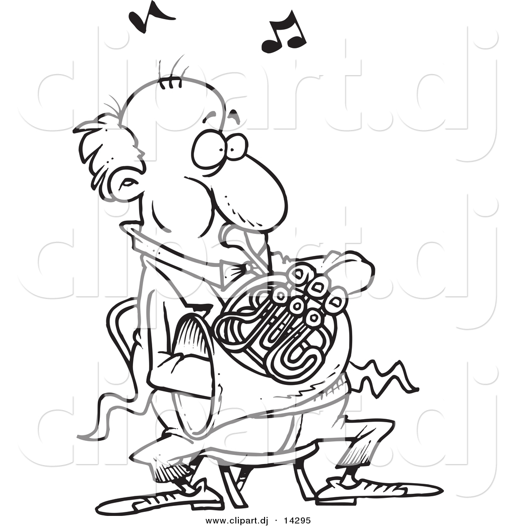 1024x1044 Vector Of Cartoon Man Blowing Into A French Horn