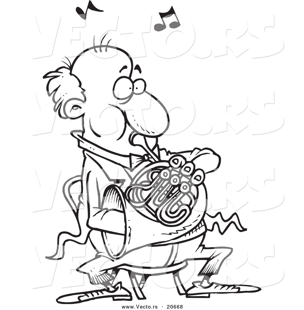 1024x1044 Vector Of A Cartoon Man Blowing Into A French Horn