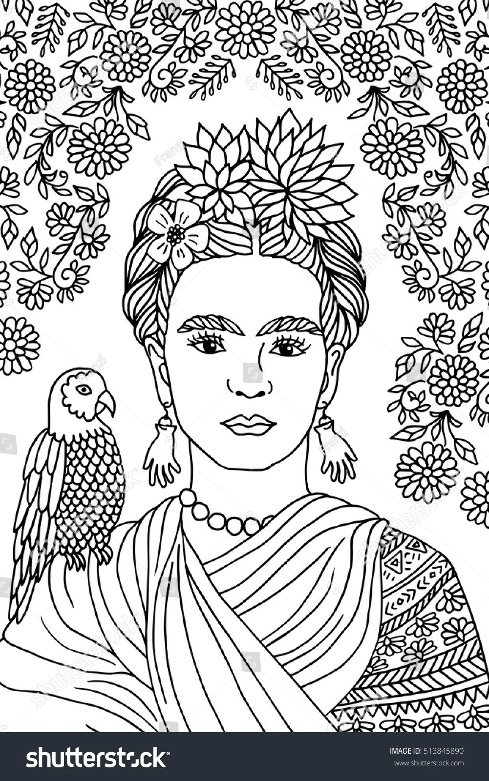 1001x1600 Shocking Hand Drawn Portrait Of Frida Kahlo With Floral Background