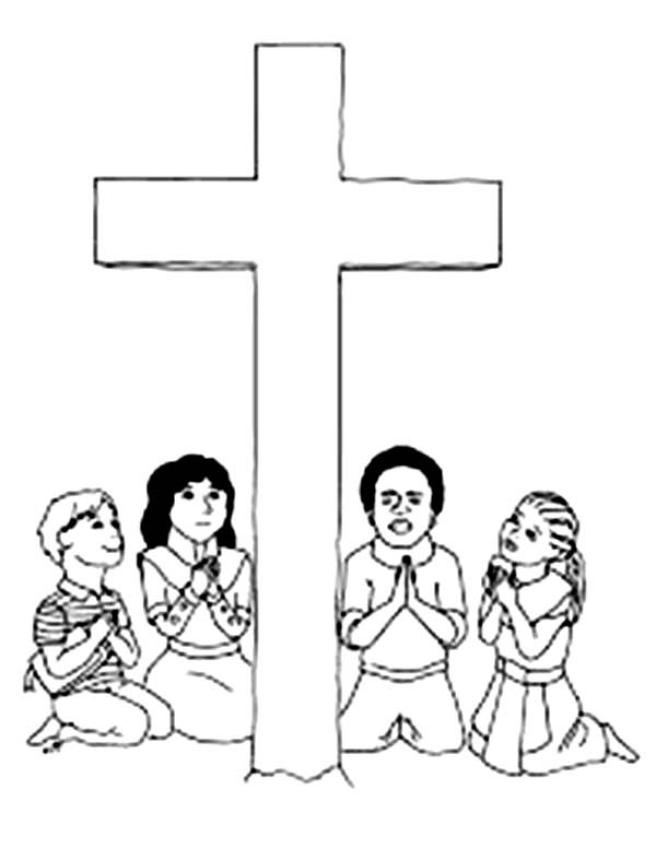600x787 Good Friday Coloring Pages Praying For Jesus Batch Coloring
