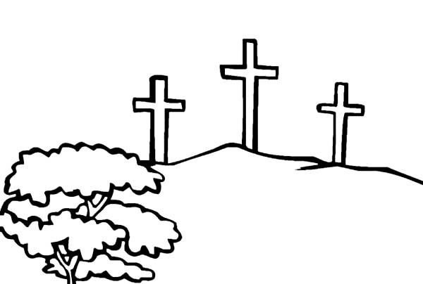 600x404 Three Crosses Coloring Page
