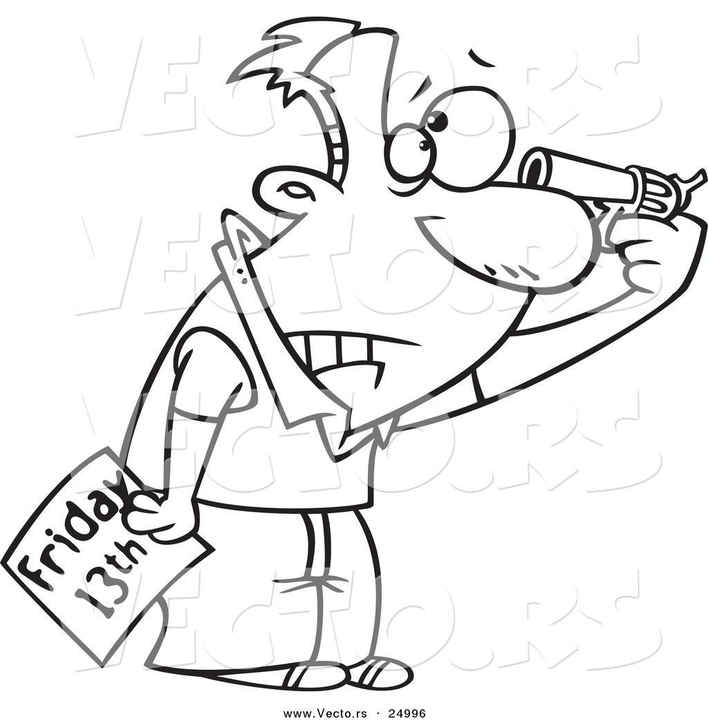 1024x1044 Vector Of A Cartoon Superstitious Man Holding A Gun To His Head
