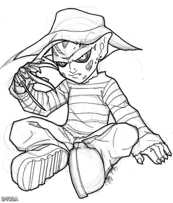 600x704 Freddy Krueger Coloring Page Adult Coloring Horror