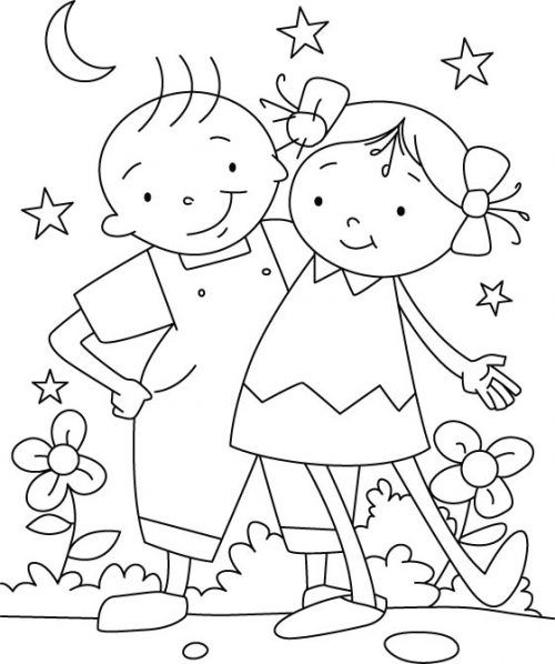 500x598 Friendship Coloring Pages Family, Friends, Pets